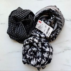 3 Black and White Scarf Bundle